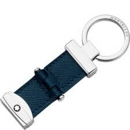 Montblanc keyring in stainless steel and leather