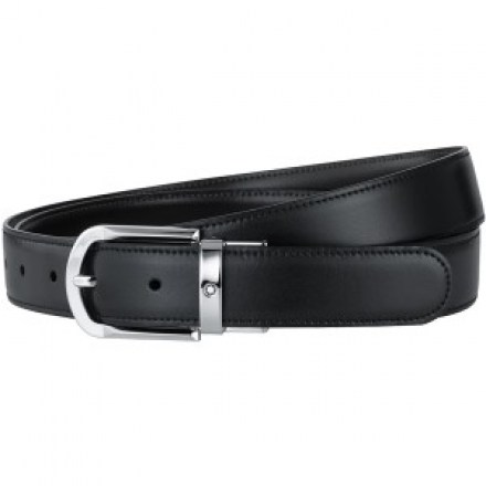 Montblanc Belt with Revolving Rounded Horseshoe Shiny Palladium-Coated Pin Buckle Belt
