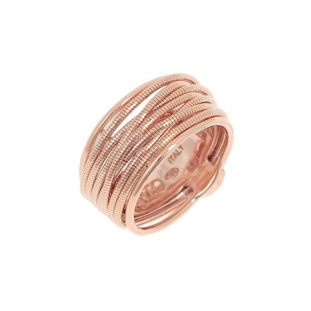 DNA Spring Ring. Sterling Silver with an 18K Rose Gold Vermeil.