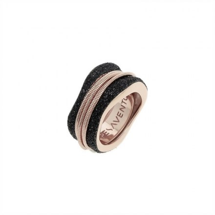 Polvere Meeting Ring - Sterling Silver with an 18K Rose Gold Vermeil and Black Dust