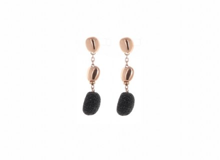 Polvere Nugget Earrings - Sterling Silver with an 18K Rose Gold Vermeil and Black Dust
