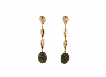 Polvere Nugget Earrings - Sterling Silver with an 18K Rose Gold Vermeil and Brown Dust